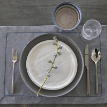 Amsterdam Stain-Resistant Standard Placemats Blue, Four | Gracious Style