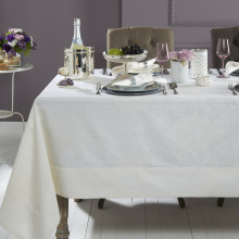 Aspen White Stain-Resistant Damask Table Linens | Gracious Style