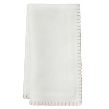 Bordeaux Napkins White/Beige Blanket Stitch, Four | Gracious Style