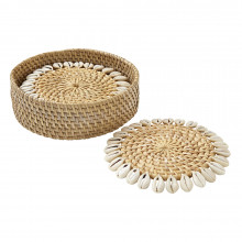 Capiz Coasters with Gift box Beige 4 in round, Set of Four | Gracious Style
