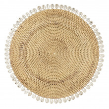 Capiz Placemats Beige 14 in round, Set of Four | Gracious Style