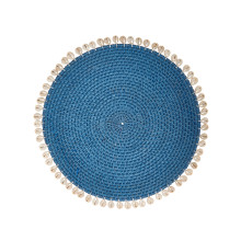 Capiz 14 in round Placemats Blue, Set of Four | Gracious Style