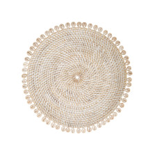 Capiz 14 in round Placemats Bone, Set of Four | Gracious Style