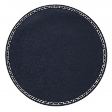 Coco Placemats Navy 15 in round, Set of Four | Gracious Style