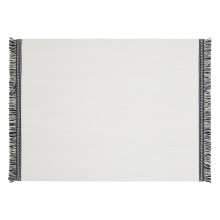 Fringe Placemats Rectangle White/White-Blue Fringe, Set of Four | Gracious Style