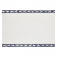 Fringe Placemats Rectangle White/Blue-Red Fringe, Set of Four | Gracious Style
