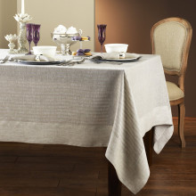 Greenwich Beige Easy Care Damask Table Linens | Gracious Style
