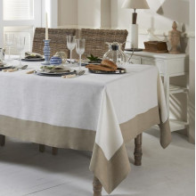 Hamptons Stain-Resistant Table Linens, Beige Border | Gracious Style
