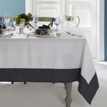 Hamptons Gray Border Stain-Resistant Print Table Linens | Gracious Style