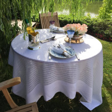Greenwich White Easy Care Damask Table Linens | Gracious Style