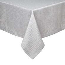 London Light Gray Stain-Resistant Damask Table Linens | Gracious Style