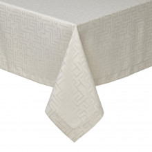 London Taupe Stain-Resistant Damask Table Linens | Gracious Style