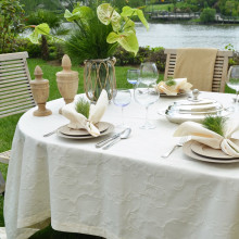 Miami Cream Stain-Resistant Damask Table Linens | Gracious Style