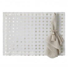 Milano 14 x 20 in Placemats Beige with Silver Trim, Set of Four | Gracious Style