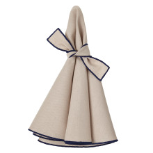 Napa Round Napkins Beige/Navy 22 in round, Set of Four | Gracious Style
