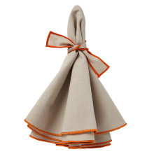 Napa Napkins Beige/Orange Hem, Four | Gracious Style