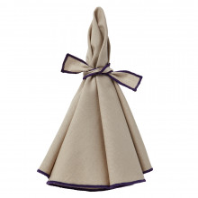 Napa Napkins Beige/Purple Hem, Four | Gracious Style