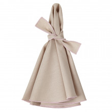 Napa Round Napkins Beige/Dusty Pink 22 in round, Set of Four | Gracious Style