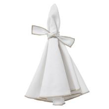 Napa Napkins White/Beige Hem, Four | Gracious Style