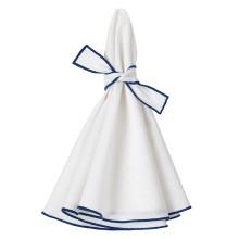 Napa Round Stain-Resistant Napkins Set of Four White + Blue | Gracious Style