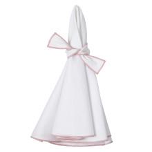 Napa Round Stain-Resistant Napkins Set of Four White + Dusty Pink | Gracious Style