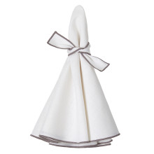 Napa Round Napkins White/Gray 22 in round, Set of Four | Gracious Style