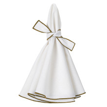 Napa Round Napkins White/Olive 22 in round, Set of Four | Gracious Style