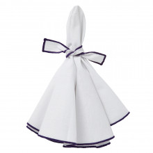 Napa Napkins White/Purple Hem, Four | Gracious Style