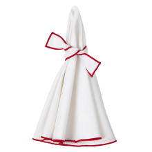 Napa Round Napkins White/Red 22 in round, Set of Four | Gracious Style