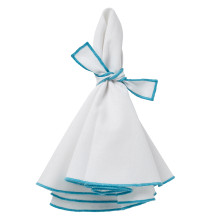 Napa Round Napkins White/Turquoise Hem 22 in round, Set of Four | Gracious Style
