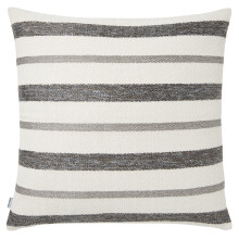 Terra 056-1 Pillow 22 x 22 in Square Striped Gray Metallic | Gracious Style