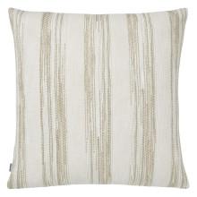 Terra 055-1 Pillow 22 x 22 in Square Striped Beige Metallic | Gracious Style