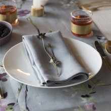 Pure Linen Stain-Resistant Care 20 x 20 in Napkins Smoke, Four | Gracious Style