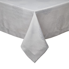 Sydney Light Gray Stain-Resistant Damask Table Linens | Gracious Style