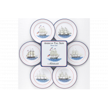 American Ship Picnic Set Of Four Tin Dinner Plates