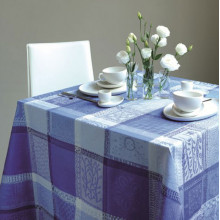 Mille Wax Ocean Coated Stain-Resistant Damask Table Linens | Gracious Style