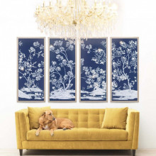 Blue Tree Panels Gilded Hand Leaf | Gracious Style