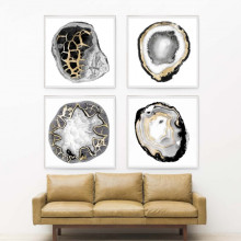 Black and White Geodes Gilded Hand Leaf | Gracious Style