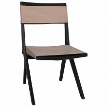 Hyde Dining Chair with Leather, Charcoal Black | Gracious Style