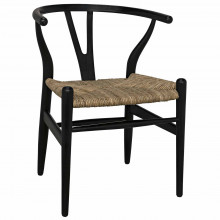 Zola Dining Chair with Rush Seat, Charcoal Black | Gracious Style