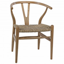Zola Dining Chair with Rush Seat, Natural | Gracious Style