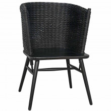 Curba Chair with Rattan, Charcoal Black | Gracious Style
