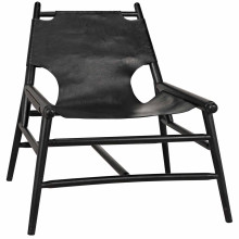 Tiger Chair with Leather, Charcoal Black | Gracious Style