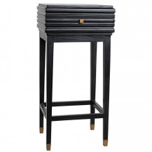 Kitame Side Table with Drawer, Charcoal Black | Gracious Style