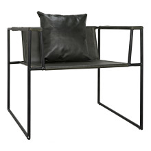 Reinhold Chair with Leather, Iron | Gracious Style
