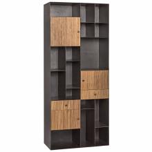 Oksana Bookcase, Dark Walnut, Metal and Walnut | Gracious Style