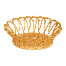 Braided Fruit Basket (oval) Gold Plated Bronze | Gracious Style