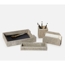 Riga Brown Candy Striped Desk Accessories | Gracious Style