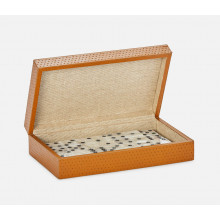 Dayton Aged Camel Domino Box Set Full-Grain Leather | Gracious Style