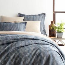 Cascade Stripe Flannel Blue oatmeal Bedding | Gracious Style
